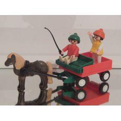 Vintage - Enfant Poney Et Chariot De 1983 3583 Playmobil
