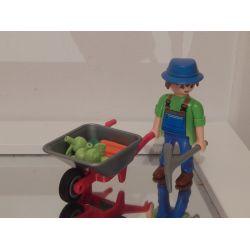 Agriculteur Et Brouette De Légumes Et Pommes Playmobil