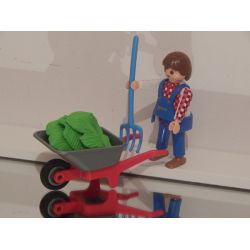 Z1 - Agricultrice Et Brouette Playmobil