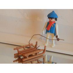 Papa Et Sa Luge Vintage Aux Sports D'Hiver Playmobil