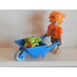 Enfant Brouette Et Pommes Playmobil