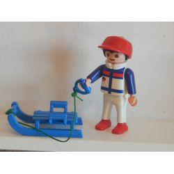 Enfant Et Sa Luge Aux Sports D'Hiver Playmobil